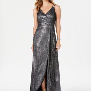 Nightway Glitter Gown Dark Silver Size 6